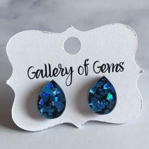 Sapphire 3-D Holographic Acrylic Stud Earrings!